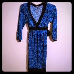 Retro blue and black tie back dress